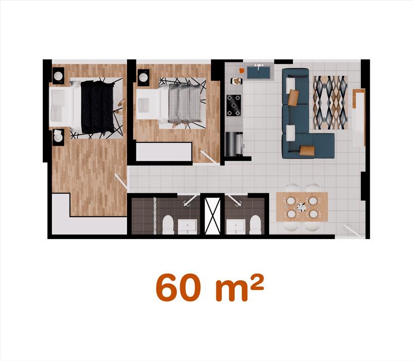 Departamento de 60 m² en Las Quintanas, Trujillo
