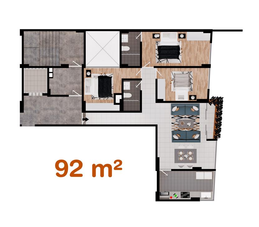 Departamento de 92 m² en Las Quintanas, Trujillo