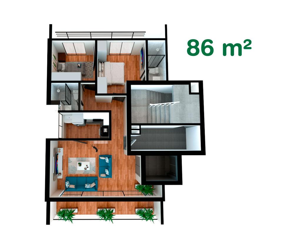 Departamento de 86 m² en California, Trujillo