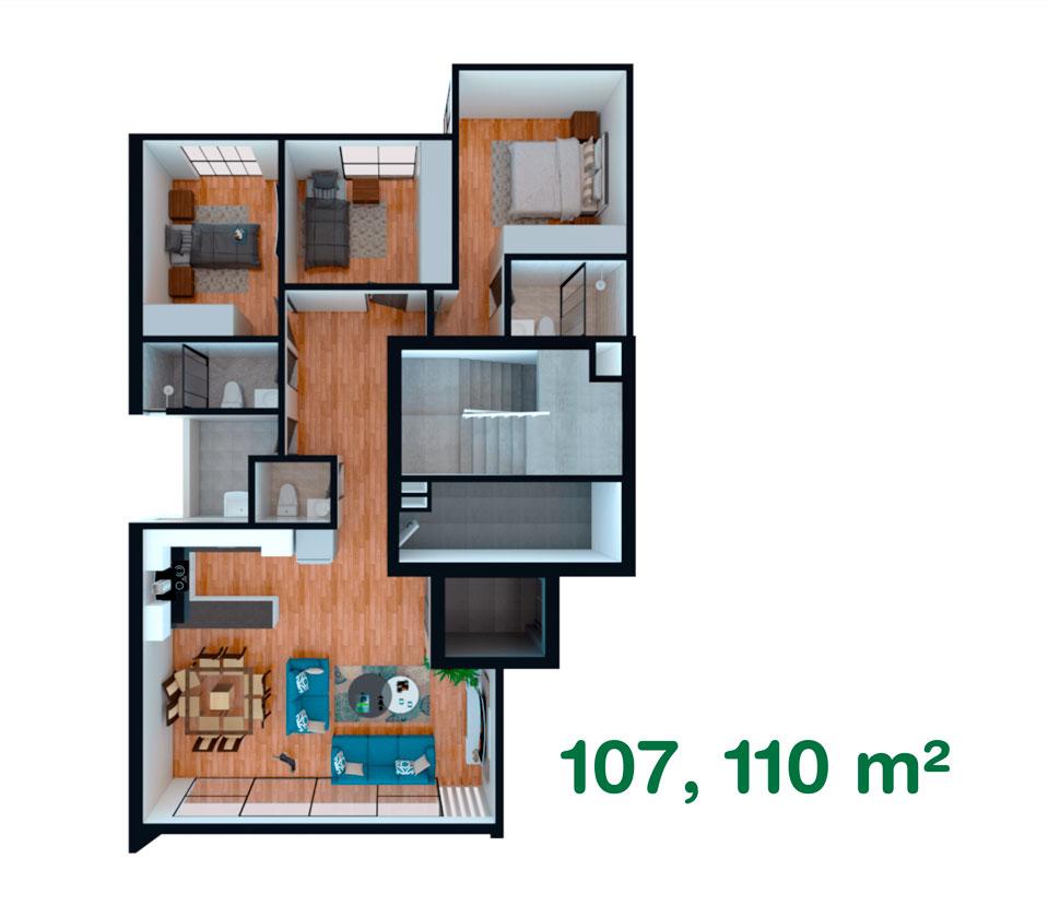 Departamento de 107, 110 m² en California, Trujillo